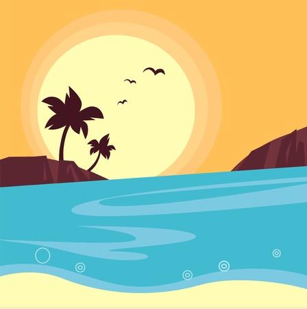 paesaggio mare: Sunset Beach - palme contro tramonto arancia. Illustrazione vettoriale. Vettoriali