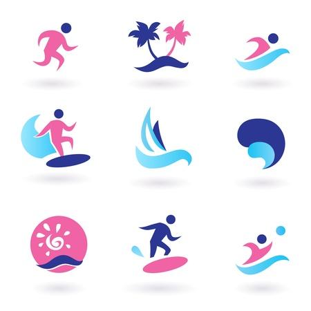 waterpolo: Colecci�n de vacaciones y verano deportivos iconos. Ilustraci�n vectorial. Vectores