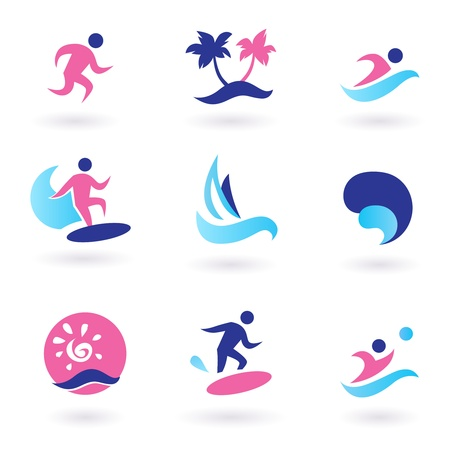 wave tourist: Collection of vacation and summer sports icons. Vector Illustration.