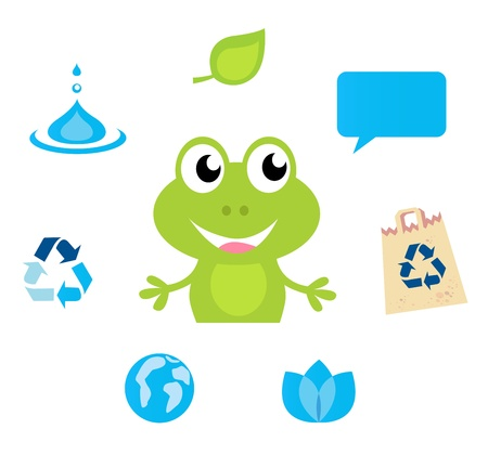 Cute green Frog character, Ecology, Nature and Water icons and symbols Vector