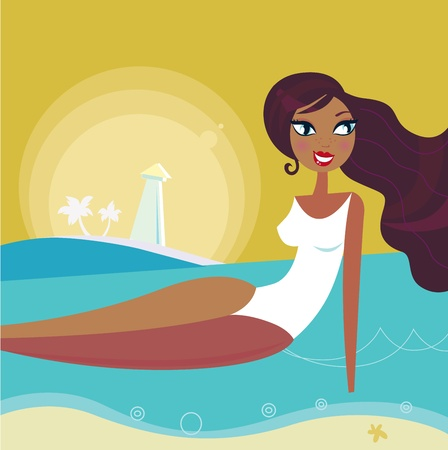 body of water: Cute woman taking sun bathing on the beach. Vector Illustration in retro style.