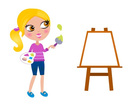 painter palette: Happy blond Artist girl, Easel - isolated on white. Vector Illustration