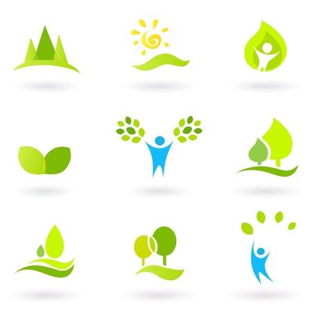 educazione ambientale: Insieme vettoriale di alberi e icone della natura. Vettoriali