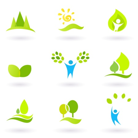 conservation: Vector collection of trees and nature icons.