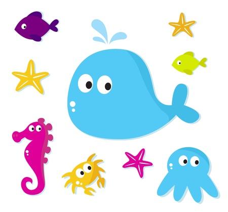 Icone di animali di mare, cartone animato di vettore.