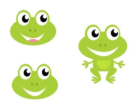 small reptiles: Collezione di icone della rana verde. Fumetto vettoriale illustrazione. Vettoriali
