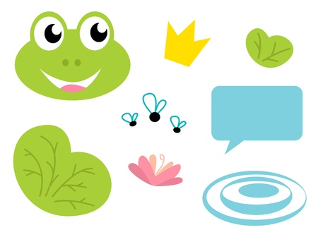 waterlilly: Fairy Frog cartoon icons and elements. Vector Illustration.