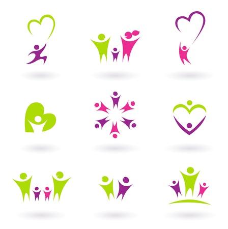 saludable logo: Personas resumen iconos aislados en blanco. Ilustraci�n vectorial.