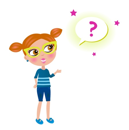 Cute geek girl with glasses and question bubble. Vector Illustration. Vector
