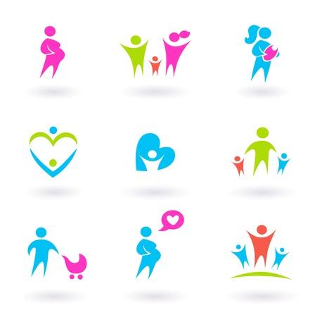 Colección de iconos de la familia, la gente y la maternidad. Ilustración vectorial.
