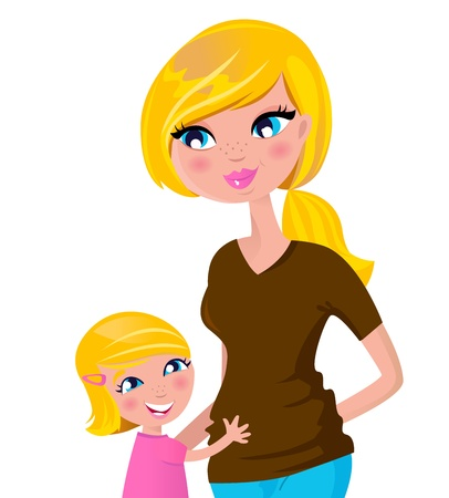 Ni�o abrazando a su mam�. Ilustraci�n vectorial. Foto de archivo - 9719009