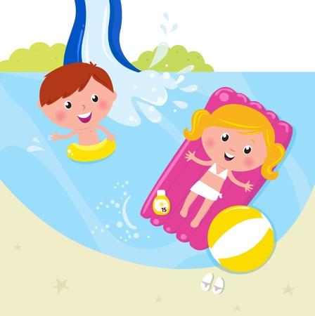 Cute Kids dans la piscine d'eau fraîche. Illustration Vecteur.