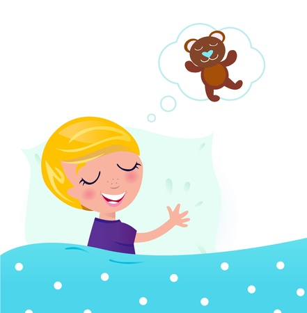 pyjama: Little cute boy dreaming about new toy. Vector cartoon Illustration isolated on white.