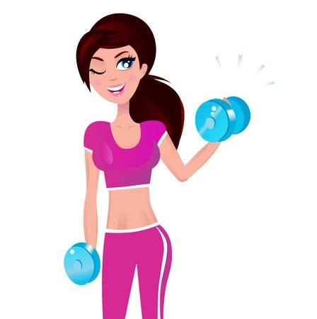 Schattig fitness vrouw geïsoleerd op wit. Vectorillustratie.