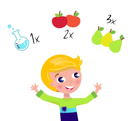 Little cute math child counting fruit. Vector Illustration.  Illustration