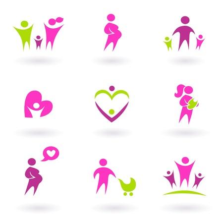 mums: Conjunto de familia y embarazo conjunto de iconos. Ilustraci�n vectorial