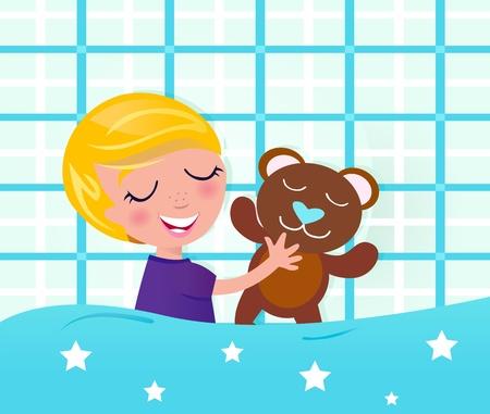 Cute blond sleeping boy. Vector cartoon Illustration. Stock Vector - 9721455