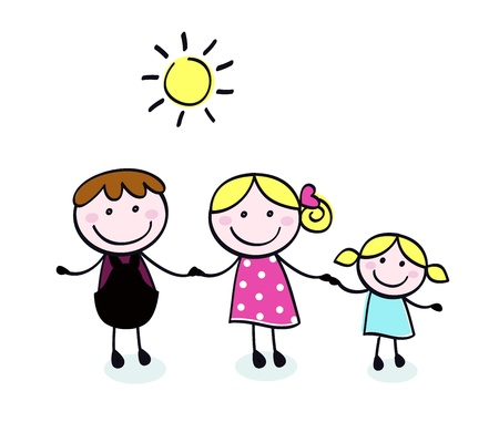 black family smiling: Vector doodle family - cartoon illustration in hand drawn style.