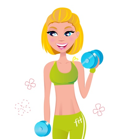 Cute blond fitness woman isolated on white. Vector Illustration. Stock Vector - 9803942