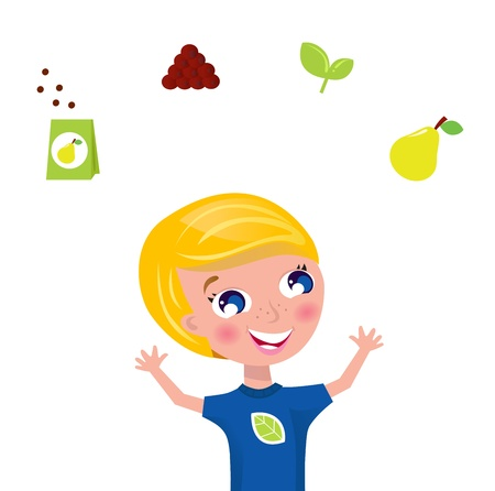 Happy blond boy with fruit and plant icons isolated on white. Vector Illustration. Vector