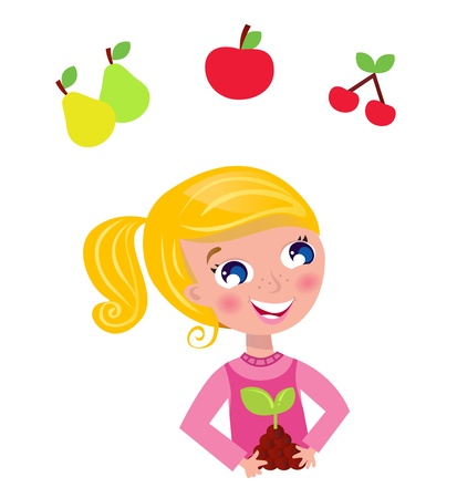 tree planting: Happy blond gardener girl in pink costume. Vector Illustration.