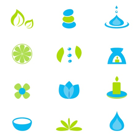 zen stone: Zen, nature and relaxation icon set - isolated on white. Vector collection