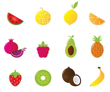 fruttosio: 12 di frutta e bacche di raccolta di icone carino. Illustrazione vettoriale.