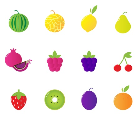 12 fruit and berries cute icons collection. Vector Illustration. Stock Vector - 9803947