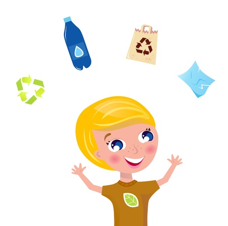 collect: Boy juggling with pet bottle, recycle sign, paper and eco bag. Vector Illustration.