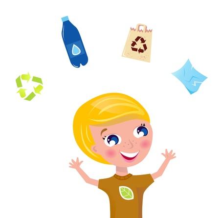 juggling: Boy malabares con botellas pet, reciclar signo, bolsa de papel y eco. Ilustraci�n vectorial.