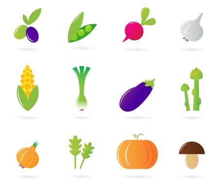 12 vegetable series - vector icons. Vector