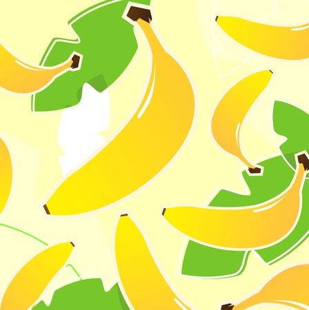 mezcla de frutas: Patr�n de vector de pl�tano estilizada. Vectores