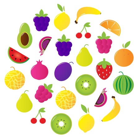 Stylized fresh fruit circle. Vector Illustration. Stock Vector - 9884248
