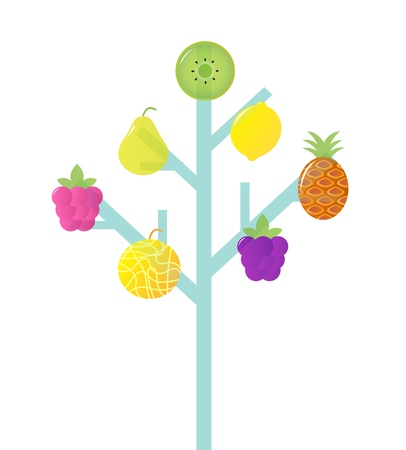 Fruit tree, retro Vector Illustration. Vector