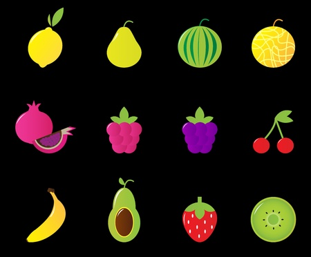 Fruit icons Vector collection isolated on black - including lemon, melon, pear, strawberry, avocado, banana, kiwi etc. Vector