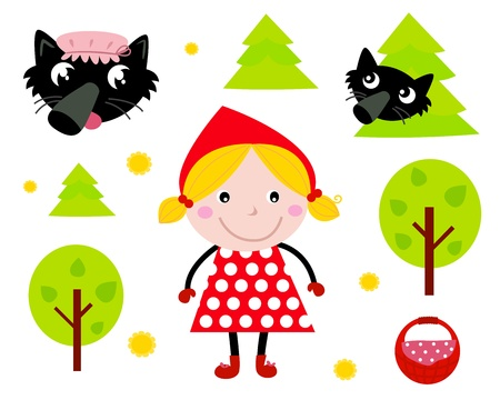 Red riding hood and wolf tale icons isolated on white. Vector cartoon illustration. Illustration