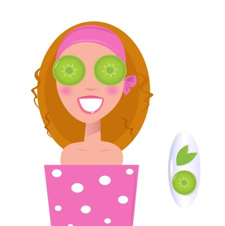 pepino caricatura: Ilustraci�n de mujer estilizada spa aplicar cosm�ticos medicinales