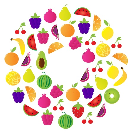 frutas divertidas: C�rculo de fruta sabrosa estilizada. Ilustraci�n vectorial.