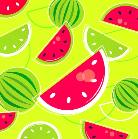Pink and green Watermelon background. Vector Stock Vector - 9884264