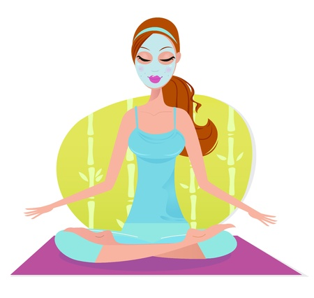 Beautiful meditating woman in yoga pose. Vector Illustration. Stock Vector - 9884269