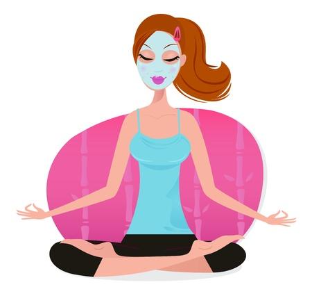 hair mask: Woman in yoga lotus asana. Vector Illustration isolated on white.