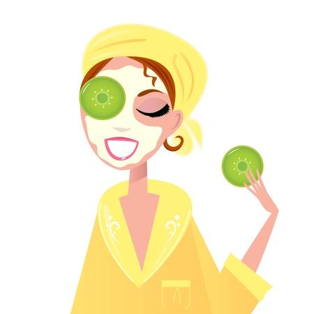 gezichtsbehandeling: Meisje met komkommer op ogen en schoonheid masker. Vectorillustratie.