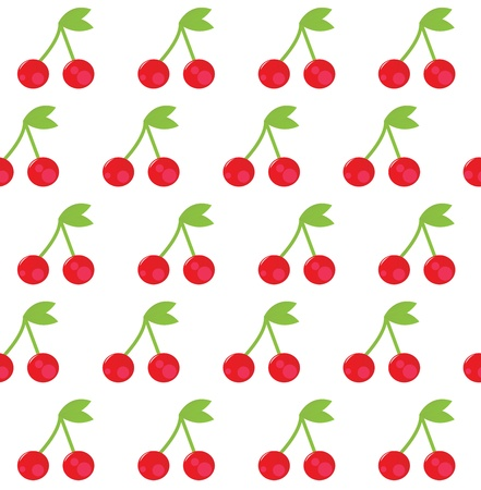 Cherry seamless background or pattern, red and white. Vector Vector