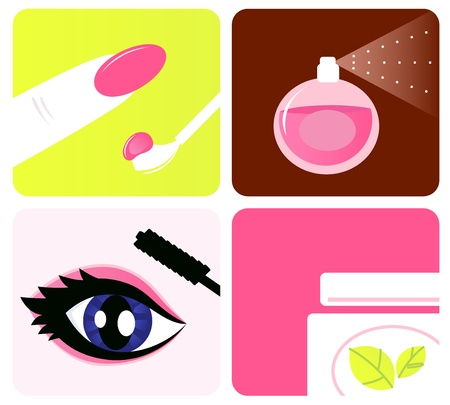 Beauty, cosmetic and makeup icons isolated on white Stock Vector - 9920348