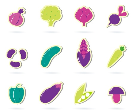 Stylized retro Vegetable icons - isolated on white ( pink & green ) Stock Vector - 9920350