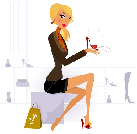Illustration of shopping cute woman. Vector