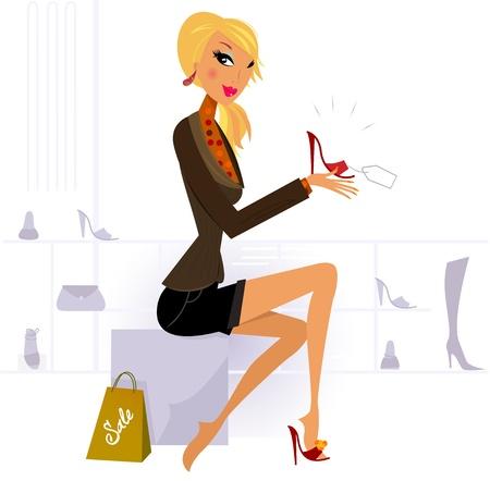 comprando zapatos:  Ilustraci�n de compra mujer Linda.