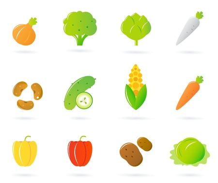cucumber slice: 12 icon collection of different vegetable, healthy food.  Illustration