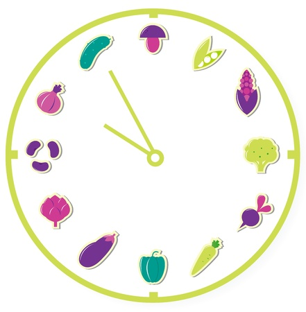 artichoke: Clock showing healthy food, vegetable icons, Vector Illustration.