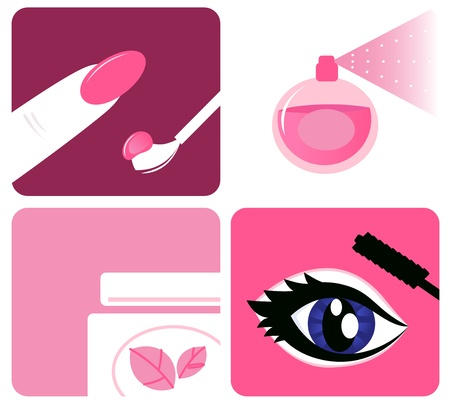 beauty make up: Icona set di icone di trucco e di bellezza. Illustrazione vettoriale. Vettoriali